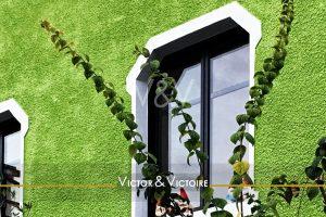 fenêtre maison nantaise mur vert Victor & Victoire immobilier Real Estate agency