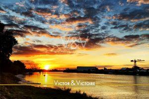 Nantes Loire couchant pont Cheviré voilier Trentemoult agence immobilière Victor & Victoire real estate agency