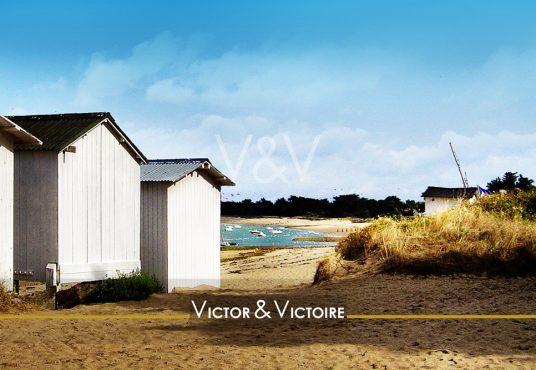 Noirmoutier accès plage des Sableaux cabanes voiliers au mouillage Victor & Victoire immobilier Real Estate agency