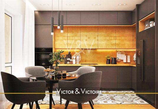 Appartement T2 T3 centre Nantes Facultés coin repas accès terrasse cuisine angle bois marron Agence immobilière Victor & Victoire Real estate agency