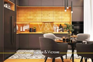 Nantes Erdre Appartement T4 cuisine L marron et bois coin repas baie vitrée Agence immobilière Victor & Victoire Real estate agency