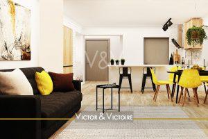 pièce de vie salon canapé coin repas chaises jaune cuisine bar Agence immobilière Victor & Victoire Real estate agency
