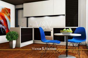Nantes Universités appartement T2 entrée cuisine avec retour noir blanc coin repas Agence immobilière Victor & Victoire Real estate agency