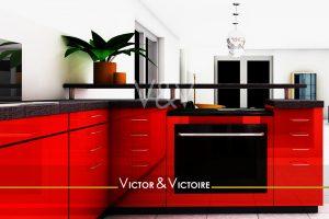Nantes Erdre centre appartement T2 cuisine rouge et noir ouverte sur séjour blanc Agence immobilière Victor & Victoire Real estate agency