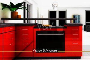 Nantes Val Chézine Appartement cuisine bar rouge plan noir four tiroirs séjour blanc Agence immobilière Victor & Victoire Real estate agency