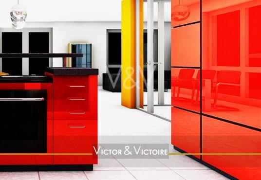 cuisine ouverte séjour appartement T4 centre Nantes Agence immobilière Victor & Victoire Real estate agency
