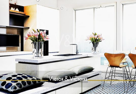 Appartement T2 Nantes centre cuisine ouverte îlot central banquette et retour table face vue Paris 15 Appartement T3 Agence immobilière Victor & Victoire Real estate agency