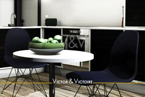 plat de pommes vertes table cuisine noir blanc Agence immobilière Victor & Victoire Real estate agency