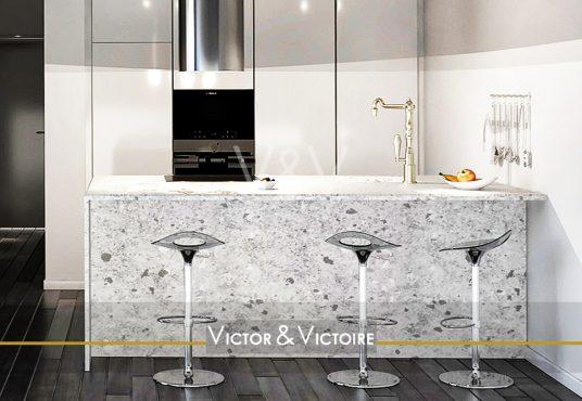 Nantes Nord Erdre Facultés appartement T5 T2 cuisine bar blanc noir moucheté Agence immobilière Victor & Victoire Real estate agency