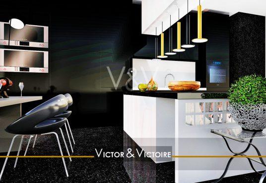 Nantes nord appartement t2 cuisine noire ouverte bar suspensions fours Agence immobilière Victor & Victoire Real estate agency