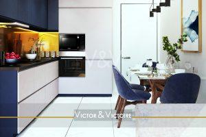 cuisine marine blanc colonne fours rangements table repas Agence immobilière Victor & Victoire Real estate agency