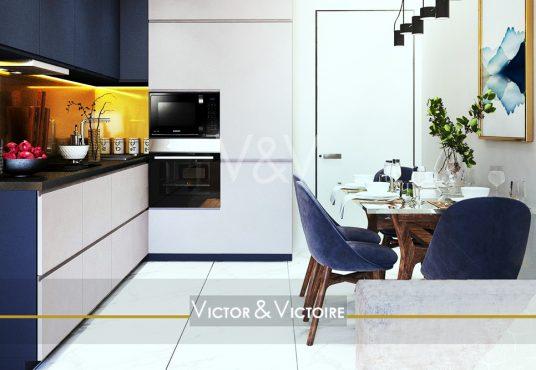 appartement T2 Nantes hyper centre cuisine marine blanc colonne fours rangements table repas Agence immobilière Victor & Victoire Real estate agency