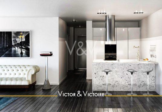 Appartement T4 Nantes Facultés salon canapé entrée couloir cuisine bar aménagée hotte spots sol plancher noir Victor & Victoire Immobilier Real estate agency