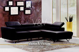 Nantes Nord Facultés Appartement T4 salon canapé cuir angle élégant design appartement Victor & Victoire-immobilier-Real estate agency