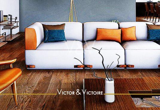 Nantes Nord Erdre Appartement T4 salon canapé trois places table basse bois vase Victor & Victoire immobilier Real estate agency