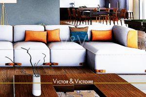 Paris 14ème-appartement-canapé méridienne quatre places table repas huit chaises Victor & Victoire immobilier Real estate agency