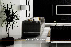 Nantes Nord Facultés appartement T3 entrée salon canapés noir appartement yucca Victor & Victoire immobilier Real estate agency