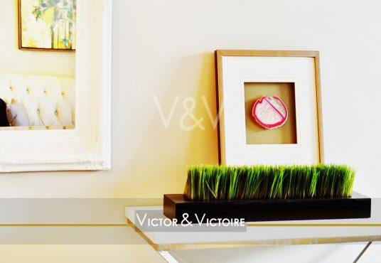 Appartement Maison Nantes salon desserte plante verte cadre miroir Victor & Victoire Immobilier Real estate agency