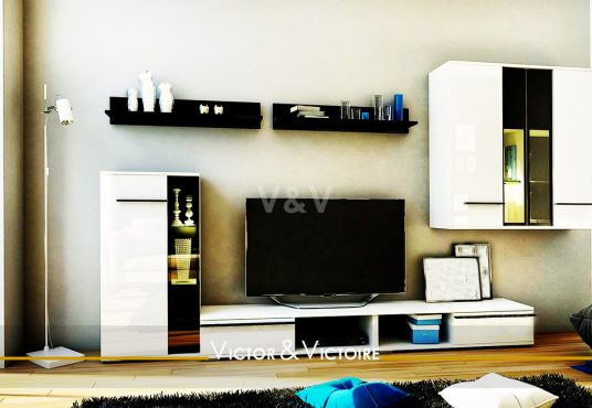 appartement T4 Nantes Nord meuble hifi blanc parquet tapis coussins Victor & Victoire Immobilier Real estate agency