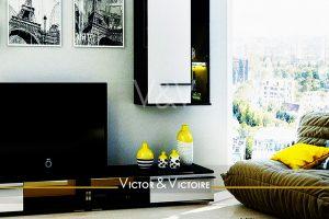 séjour home cinéma ville vue appartement T5 Nantes Nord agence Victor & Victoire immobilier Real estate agency