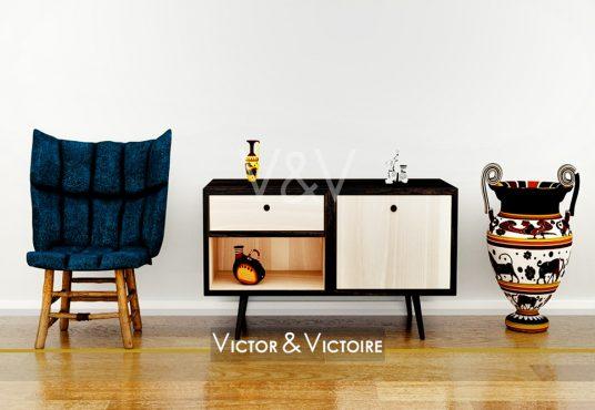 Centre ville Nantes appartement entrée parquet fauteuil meuble bas vase Victor & Victoire Immobilier Real estate agenc