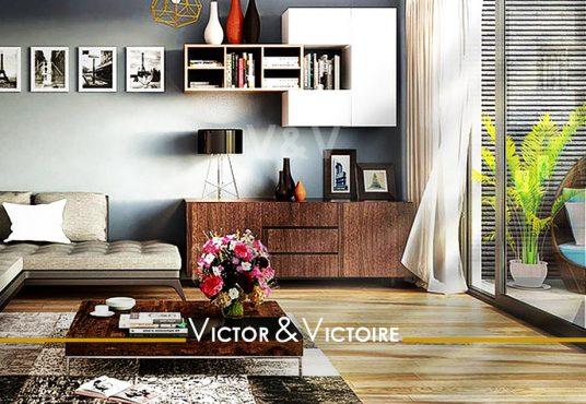 Nantes Nord Appartement T4 salon angle déco murale parquet terrasse meublée baie Agence immobilière Victor & Victoire Real estate agency