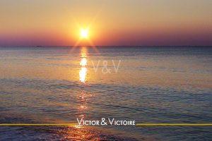 océan atlantique soleil couchant ciel lessablesdolonne Agence immobilière Victor & Victoire Real estate agency