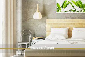 chambre lit double loggia vente appartement lumineux Paris 75 Agence immobilière Victor-Victoire. Real estate agency
