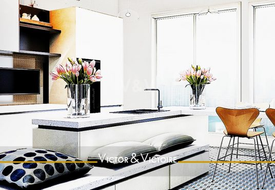 cuisine ouverte séjour baie vente appartement étage Paris Agence immobilière Victor & Victoire. Real estate agency