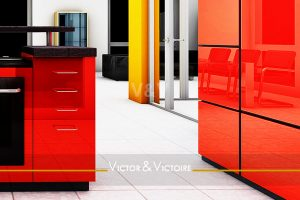 cuisine rouge ouverte séjour escalier appartement duplex es Agence immobilière Victor & Victoire, Real estate agency.
