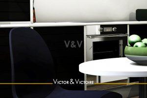 cuisine murale noir table blanc vente appartement Paris Agence immobilière Victor & Victoire. Real estate agency