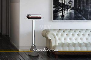 entrée séjour canapé cuir blanc vente appartement t2 Paris 19eme Agence immobilière Victor & Victoire, Real estate agency