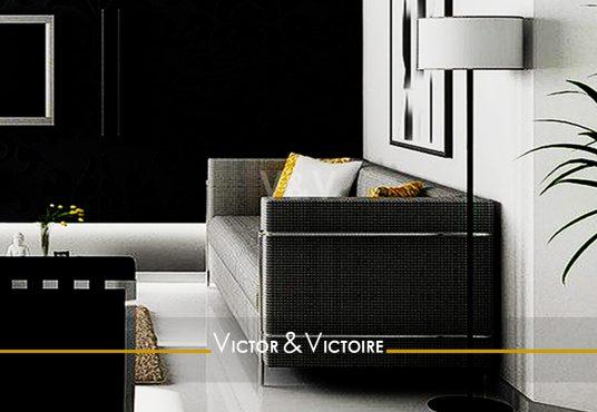 séjour mur noir canapé vente appartement t2 Paris 75019 Nantes noir Agence immobilière Victor & Victoire, Real estate agency