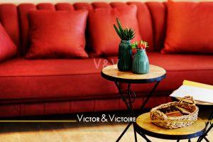canapé rouge séjour tables basses cactus appartement Paris 19Agence immobilière Victor & Victoire, Real estate agency