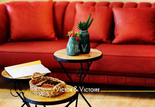 canapé rouge séjour plantes appartement t3 paris 18ème Agence immobilière Victor-Victoire, Real estate agency.