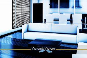 séjour cuisine blanc bleu appartement T2 Sables Olonne Vendéeagence-immobilière-victor-victoire-real-estate-agency