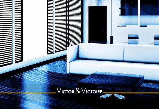 séjour cuisine blanc bleu large baie lumineux vente appartement Paris Agence immobilière Victor-Victoire, Real estate agency