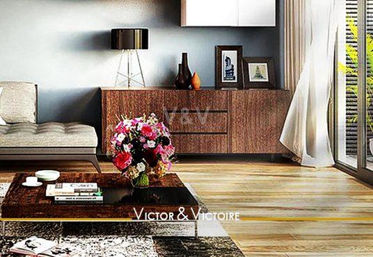 séjour balcon parquet vente appartement T3 Paris 19. Agence immobilière Victor & Victoire, Real estate agency