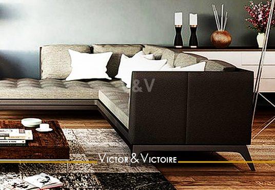 séjour canapé angle vente appartement T2 Paris Nantes Agence immobilière Victor & Victoire, Real estate agency