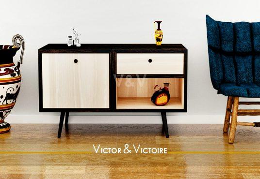 entrée commode fauteuil vintage appartement t3 paris 15e Agence immobilière Victor & Victoire, Real estate agency.