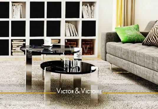 salon bibliothèque canapé baie appartement T3 vente Paris 19e Nantes Agence immobilière Victor & Victoire. Real estate agency